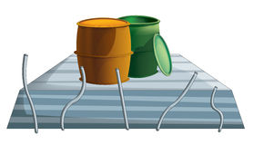 Cartoon industry element - concrete and barrels - isolated Royalty Free Stock Photo