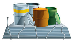 Cartoon industry element - concrete and barrels - isolated Royalty Free Stock Photos