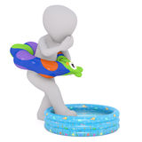 Cartoon in Inflatable Ring in Small Swimming Pool Royalty Free Stock Image