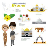 Cartoon infographic of brunei asean community. Royalty Free Stock Photo
