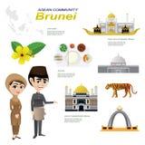 Cartoon infographic of brunei asean community. Illustration of cartoon infographic of brunei asean community. Use for icons and infographic. traditional costume Royalty Free Stock Photo