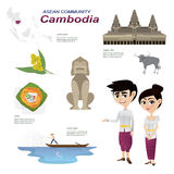 Cartoon infographic of cambodia asean community. Stock Photo