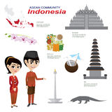 Cartoon infographic of indonesia asean community. Illustration of cartoon infographic of indonesia asean community. Use for icons and infographic. traditional Royalty Free Stock Photo