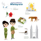 Cartoon infographic of malaysia asean community. Stock Image
