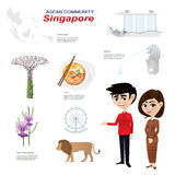 Cartoon infographic of singapore asean community. Royalty Free Stock Images