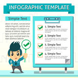 Cartoon infographic template of business man and board Stock Photo