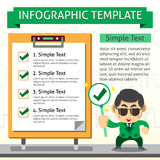 Cartoon infographic template of business man and check board Royalty Free Stock Image