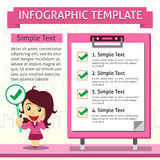 Cartoon infographic template of business woman and board Stock Photo