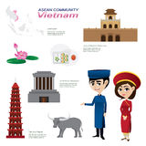 Cartoon infographic of vietnam asean community. Illustration of cartoon infographic of vietnam asean community. Use for icons and infographic. traditional Stock Images