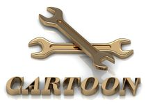 CARTOON- inscription of metal letters and 2 keys Royalty Free Stock Images
