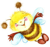 Cartoon insect bee watercolor illustration. i Stock Image