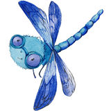 Cartoon insect dragonfly watercolor illustration. Stock Photo