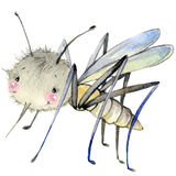 Cartoon insect mosquito watercolor illustration. Stock Photos