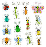 Cartoon insects. Some cartoon insects (an ant, a stick insect, a butterfly, a bee, a spider, a wasp, a mantis, a caterpillar, a gnat, ladybugs and bugs stock illustration
