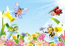 Cartoon insects on flower field Royalty Free Stock Image