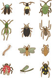 Cartoon insects icon. Vector drawing Royalty Free Stock Images