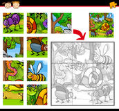 Cartoon insects jigsaw puzzle game vector illustration