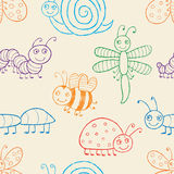 Cartoon insects pattern Royalty Free Stock Photography