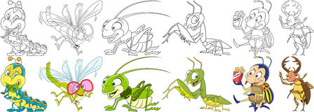 Cartoon insects set Royalty Free Stock Photography