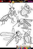 Cartoon insects set for coloring book Royalty Free Stock Photography
