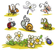 Cartoon Insects and small animals. Stock Photos