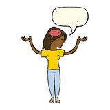 cartoon intelligent woman with speech bubble Royalty Free Stock Images
