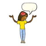cartoon intelligent woman with speech bubble Royalty Free Stock Image