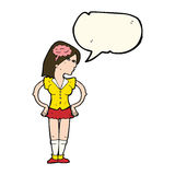 Cartoon intelligent woman with speech bubble Royalty Free Stock Photo