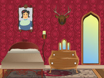 cartoon interior - bedroom Royalty Free Stock Photo
