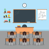 Cartoon Interior Classroom School or University with Furniture. Vector royalty free illustration