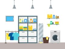 Cartoon Interior Laundry Room with Furniture. Vector Stock Photography