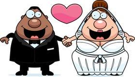 Cartoon Interracial Marriage Royalty Free Stock Image