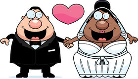 Cartoon Interracial Marriage. A cartoon illustration of a bride and groom holding hands and in love Stock Photo