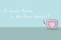 Cartoon intestine with slogan. A good health is the best wealth, great for health care concept vector illustration
