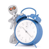 Cartoon Inventor Beside Blue Alarm Clock with Tool. 3d Rendering of Cartoon Figure Wearing Goggles and Standing Beside Blue Alarm Clock with Wrench in front of Royalty Free Stock Photography