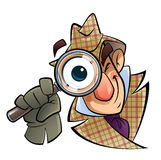 Detective with a huge glass. A cartoon investigator with a huge glass and eye, is looking at us Royalty Free Stock Photos