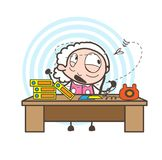 Cartoon Irritated Old Woman Worried by Insect Vector Illustration Royalty Free Stock Photos