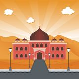 Cartoon islamic mosque and desert Royalty Free Stock Photography