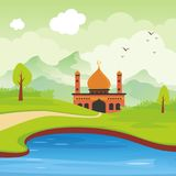Cartoon islamic mosque and landscape Stock Image
