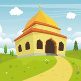 Cartoon islamic mosque and lovely nature landscape Royalty Free Stock Photos