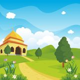 Cartoon islamic mosque and lovely nature landscape Stock Images
