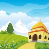 Cartoon islamic mosque and lovely nature landscape Royalty Free Stock Photography