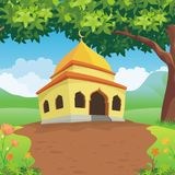 Cartoon islamic mosque and lovely nature landscape Stock Photography