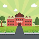 Cartoon islamic mosque and lovely nature landscape Royalty Free Stock Image