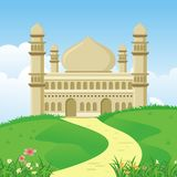 Cartoon islamic mosque with nature landscape Royalty Free Stock Photography