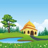 Cartoon islamic mosque and lovely nature landscape Royalty Free Stock Images