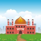 Cartoon islamic mosque and lovely nature landscape Stock Image