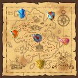 Cartoon Island Map Template Stock Images