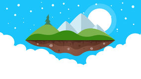 Cartoon island. Mountain, fir, sun and cloud. stock video