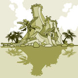 Cartoon island-mountain and palm trees Stock Photos